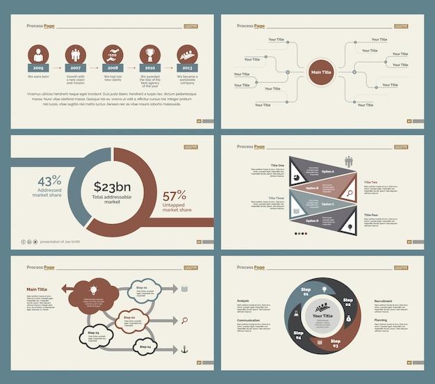 Six tableaux de flux de travail ensembles de modèles de diapositives