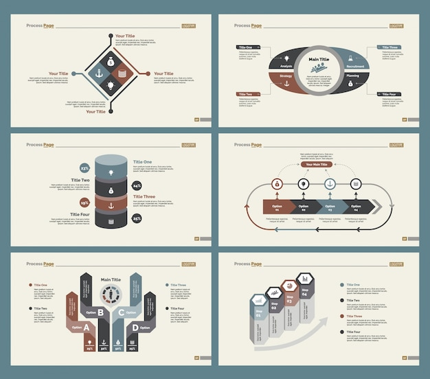Six tableaux de recherche ensemble de modèles de diapositives