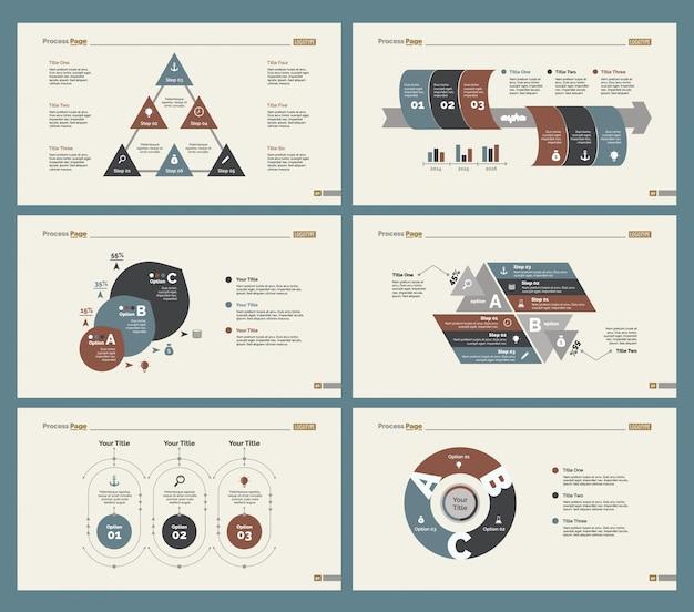 Six tableaux de statistiques ensemble de modèles de diapositives