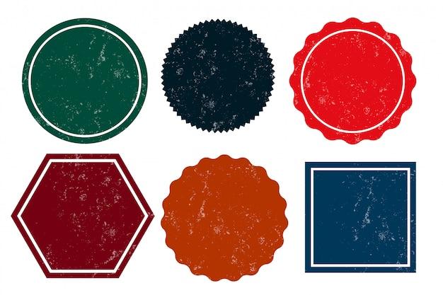 Six timbres en détresse grunge vide étiquettes vides