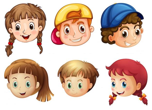 Six visages différents