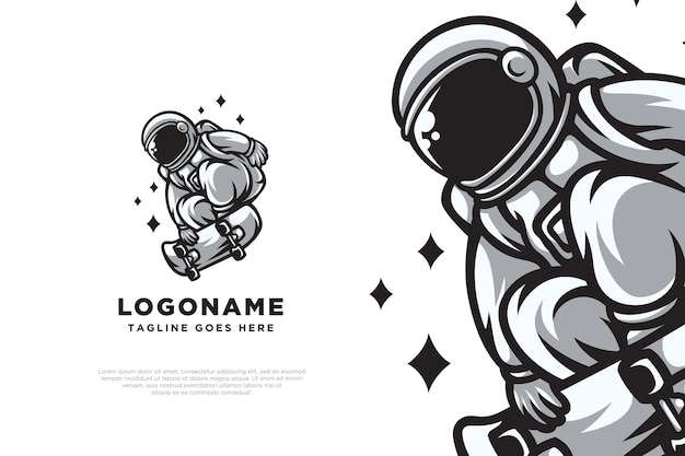 Skate astronaute logo design illustration