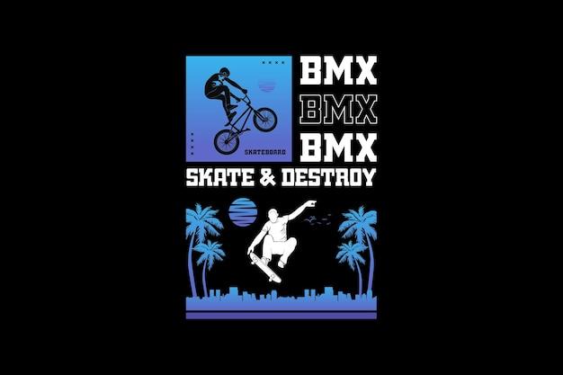 Skate et bm, design silhouette style urbain.