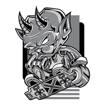 Skate devil illustration en noir et blanc