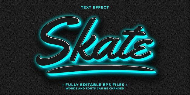 Skate effet de texte bleu brillant néon modifiable eps cc