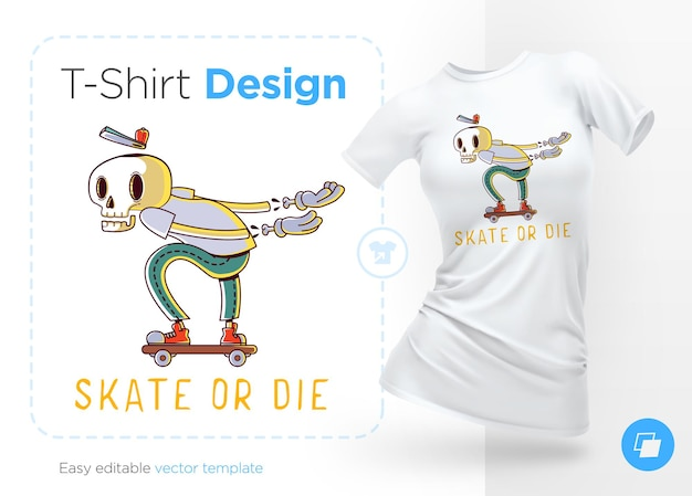 Skate or die illustration fot conception de t-shirt