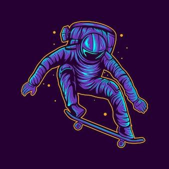 Skateboard astronaute sauter sur l'illustration de l'espace
