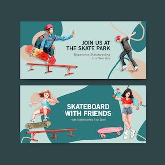 Skateboard design concept bannière illustration vectorielle aquarelle.