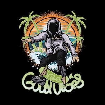 Skateboard homme squelette et plage de bonnes vibrations