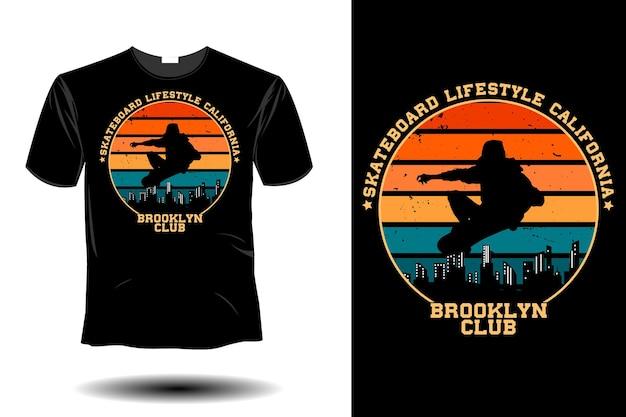 Skateboard lifestyle californie brooklyn club maquette rétro design vintage