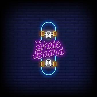 Skateboard logo neon signs style texte