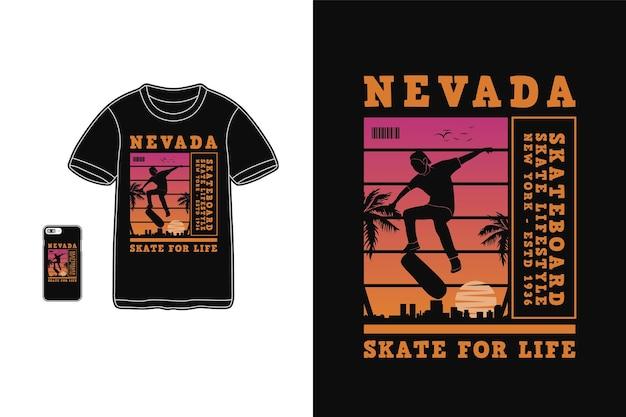 Skateboard Nevada, Style Rétro Silhouette Design T-shirt Vecteur Premium