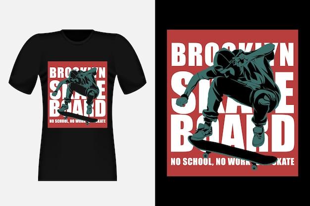 Skateboard no school no work just skate silhouette vintage t-shirt design