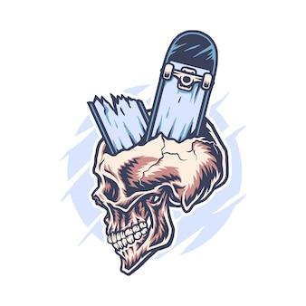 Skateboard à travers le crâne