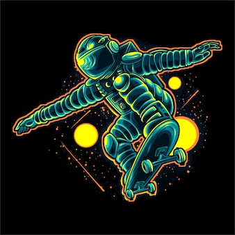 Skateboarder astronaute vector illustration design
