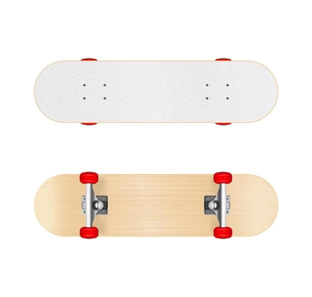 Skateboards ensemble réaliste illustré équipement sportif affiché sous différents angles isolés