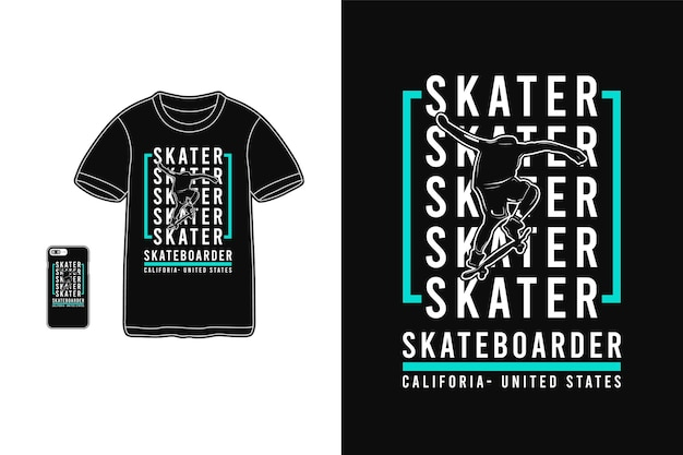 Skater california pour la silhouette de conception de t-shirt