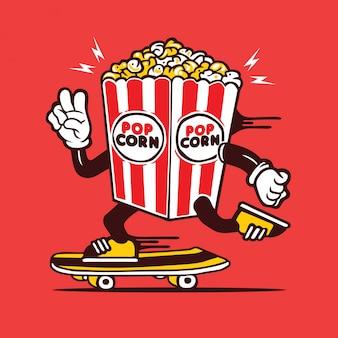 Skater pop corn skateboarding design des personnages