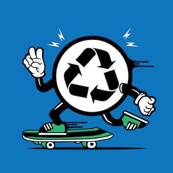 Skater recycle symbol logo design de personnage de planche à roulettes