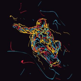 Skateur abstraite faisant un tour de saut