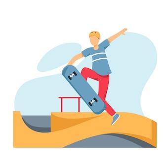 Skateur faisant un tour dans un skate park