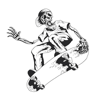 Skeleton jouant au skateboard