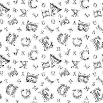 Sketch alphabet seamless pattern