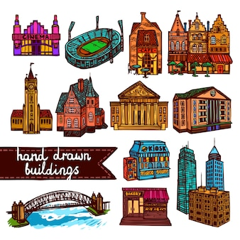 Sketch city building set color