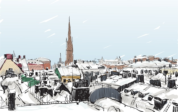 Sketch cityscape of canada show snow and building, free hand draw illustration
