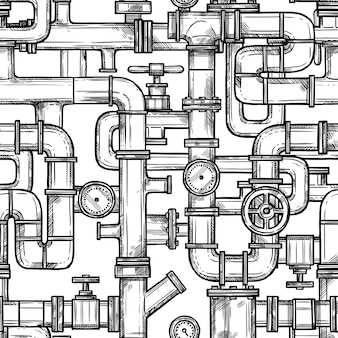 Sketch pipes system seamless pattern
