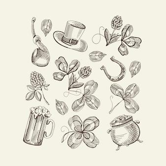 Sketch saint patricks day elements set avec chapeau trèfle bière fer à cheval fumer pipe pot avec illustration vectorielle or isolé