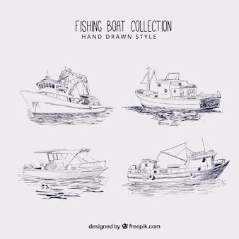 Sketches de bateaux de pêche