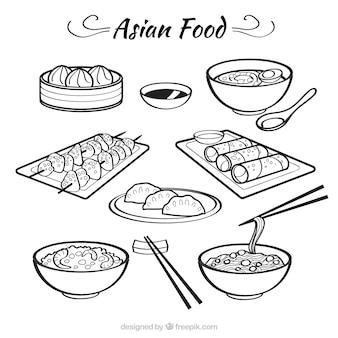 Sketches bolws avec de la nourriture asiatique