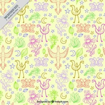 Sketches colorés oiseaux et les feuilles de fond