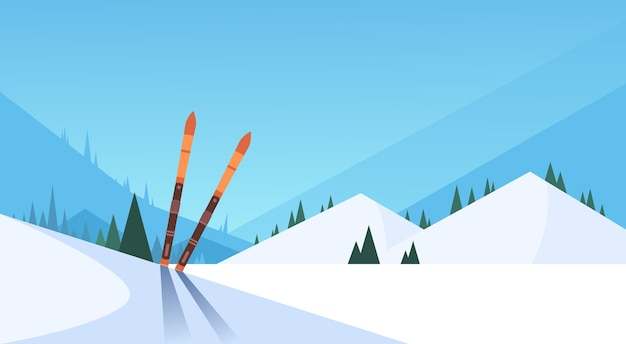 Ski dans la neige sport d'hiver fond de montagne