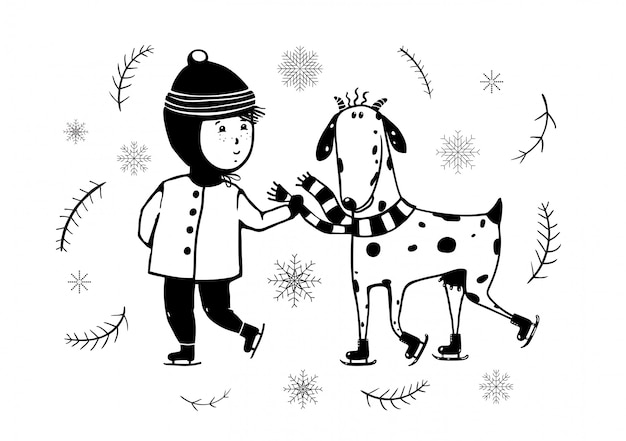 Ski enfant et chèvre