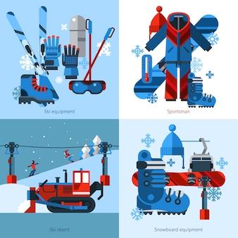 Ski images vectorielles design concept