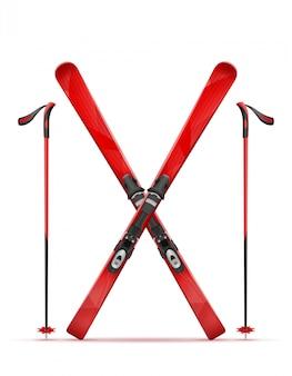 Ski de montagne et bâton.