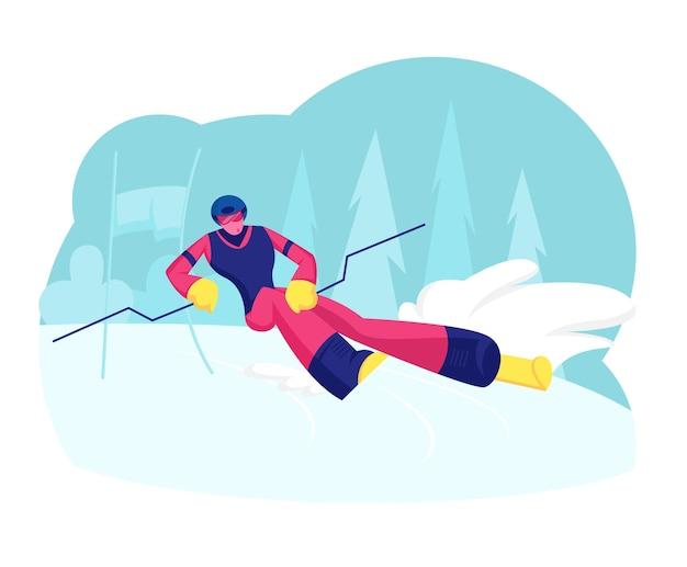 Ski slalom sports d'hiver. illustration plate de dessin animé