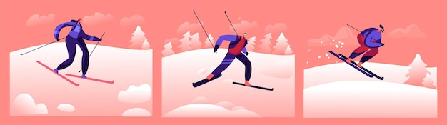 Ski sports d'hiver temps libre en plein air. les personnages portent un costume sportif chaud et des lunettes en descente à skis sur fond de nature avec des chutes de neige et des arbres. illustration vectorielle de gens de dessin animé