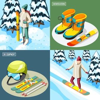 Skieur de concept de conception isométrique de station de ski avec équipement de sport et snowboarder sur l'illustration isolée de la pente