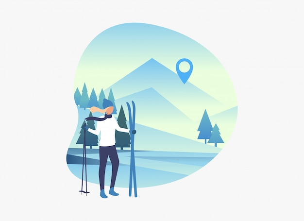 Skieur, femme, tenue, skis, et, bâtons, à, neigeux, paysage
