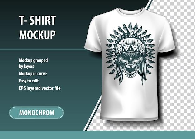 Skul of indian warrior. modèle de t-shirt, entièrement modifiable.