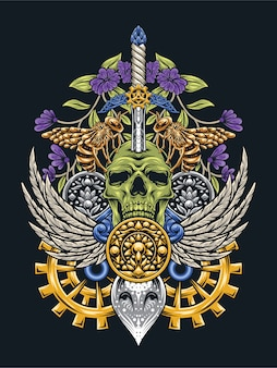 Skull art aux yeux de hibou steampunk