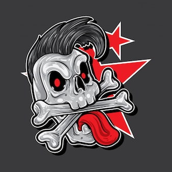 Skull cartoon punk