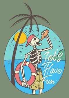 Skull drink sur la plage avec coucher de soleil
