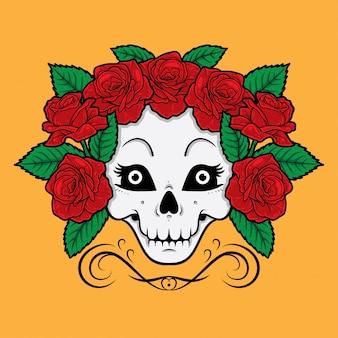 Skull girl et roses