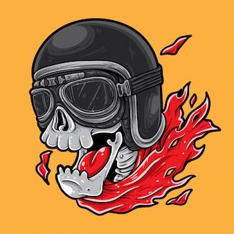 Skull happy biker