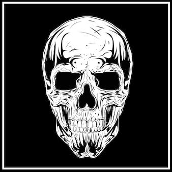 Skull illustration noir