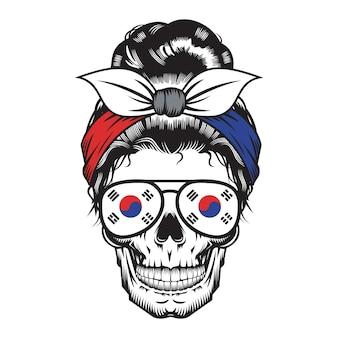 Skull mom korea headband design sur fond blanc. halloween. logos ou icônes de tête de crâne. illustration vectorielle.